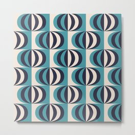 Mid century black & white striped ovals blue pattern on products Metal Print