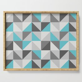 Neon cyan triangles pattern Serving Tray