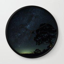 Landscape Photography Milky Way Galaxy Night Sky Stars Tree Silhouette Green Blue Ombre Sky Wall Clock