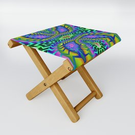 Tribal Rainbow Lotus Folding Stool
