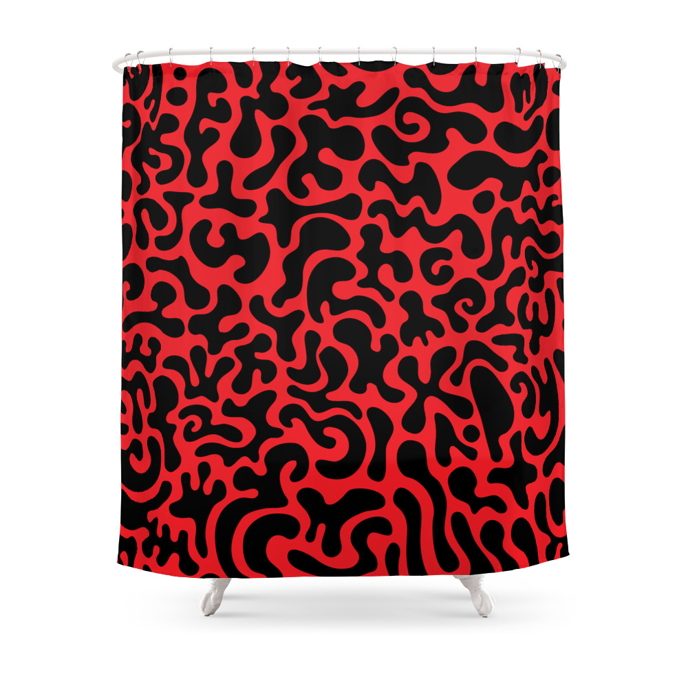 Social Networking Red and Black Shower Curtain by xpayneart