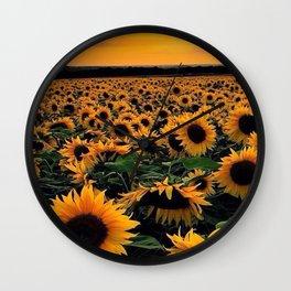 Sunset flowers Wall Clock