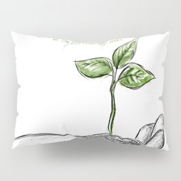 Realistic sketch hand with a plant background Pillow Sham