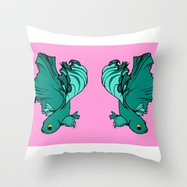 Double bettas in pink and green Throw Pillow