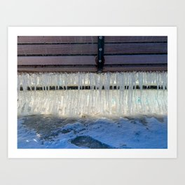 Icicles on a bench Art Print