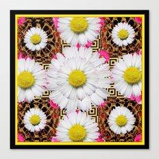 White Shasta Daisy Fuchsia  Pink Purple Patterns, Canvas Print