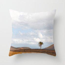 Lanzarote Palm tree landscape Throw Pillow