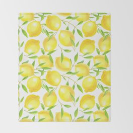 Lemons and leaves  pattern design Throw Blanket