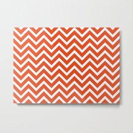 red, white zig zag pattern design Metal Print