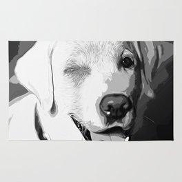 labrador retriever dog winking vector art black white Rug