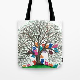 Connecticut Whimsical Cats in Tree Tote Bag