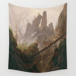 Caspar David Friedrich - Rocky Lanscape in the Elbe Sandstone Mountains Wall Tapestry