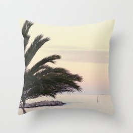 Sunset in Barceloneta Beach Throw Pillow
