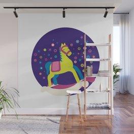 Rocking Horse (Blue) Wall Mural