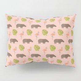 Hippos and flamingos Pillow Sham
