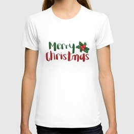 Merry Christmas   Red And Green Holly T-shirt