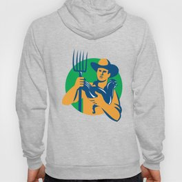 Organic Farmer Pitchfork Chicken Retro Hoody