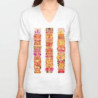 tiki V-neck T-shirts featuring Tiki Totems – Fiery Palette by Cat Coquillette