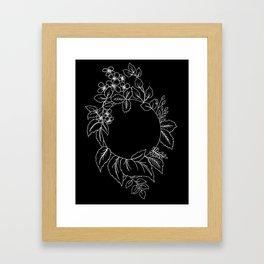 Black Floral Circle Framed Art Print