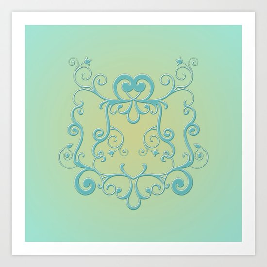 Mint tendrils emblem Art Print