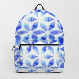 Flower of Life   Blue Light Sacred Geometry Design Pattern Backpack