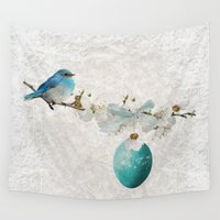 egg Wall Tapestries featuring Blue bird & egg by Juliana RW