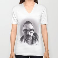 robert farkas V-neck T-shirts featuring Realism Charcoal Drawing of Artist Damon Lucas Farkas by Brittni DeWeese