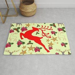 DECORATIVE LEAPING RED DEER  & HOLY BERRIES CHRISTMAS  ART Rug