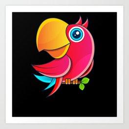 Parrot Cartoon Children Gift Motif Art Print
