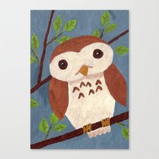 Baby Owl Perched on a Branch Canvas Print