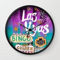 las vegas Wall Clocks featuring Las Vegas by Lera Sxemka