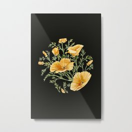 California Poppies on Charcoal Black Metal Print