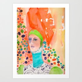 Long Neck Orange Lady Art Print