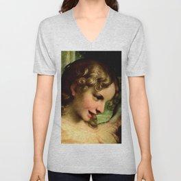 "Antonio Allegri da Correggio ""Madonna of St. Jerome""(detail) Angel Unisex V-Neck"