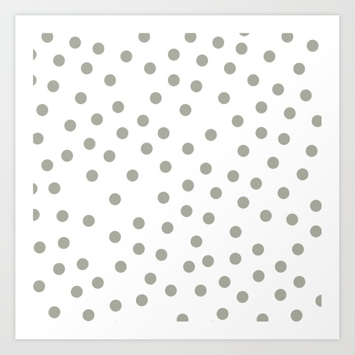 Simply Dots in Retro Gray on White Art Print