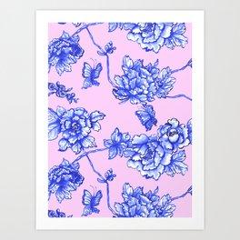 Chinoiserie Floral Blush Pink Art Print