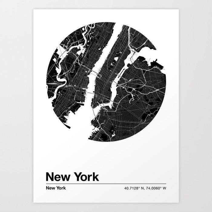 New York City Map: U.S. City Maps Series Art Print by chrisfink