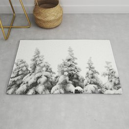 Snow Covered Pines Rug