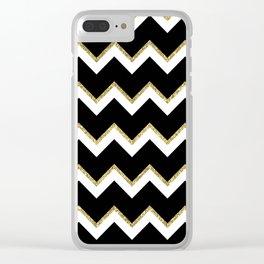 Black Gold White Chevron Pattern Clear iPhone Case