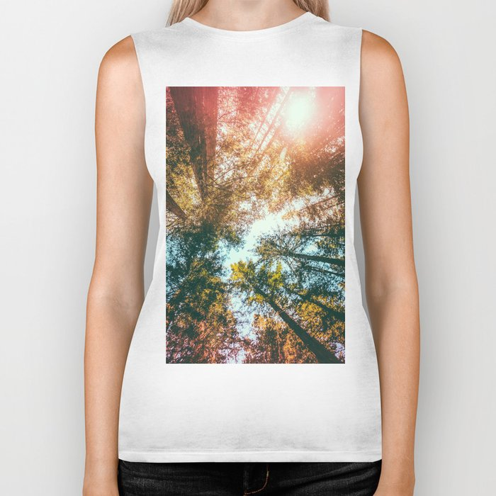 California Redwoods Sun-rays and Sky Biker Tank