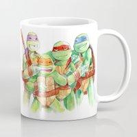 tmnt Mugs featuring TMNT watercolor  by lorna-ka