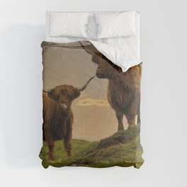Highland Cows At Sunset Comforters