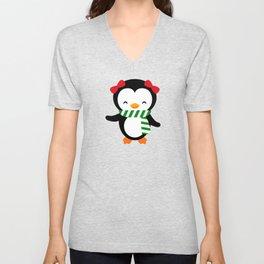 Christmas Penguin Girl Penguin with Bows Unisex V-Neck