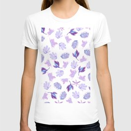 Lavender purple hand painted  watercolor floral T-shirt
