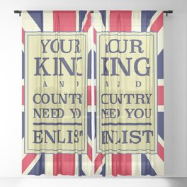 Your King and country need you Enlist. Sheer Curtain