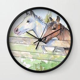 Horses Watercolor Sketch Barn Animals Horse Wall Clock