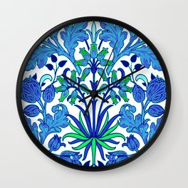 William Morris Hyacinth Print, Cobalt and Navy Blue Wall Clock