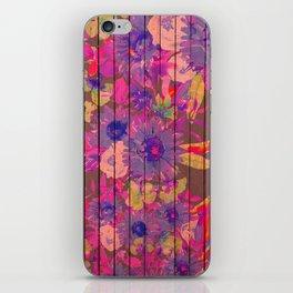 Brown wood magenta purple watercolor floral iPhone Skin