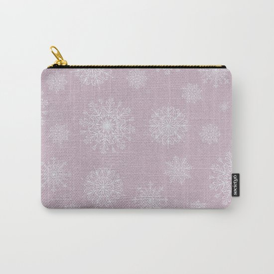 Assorted Snowflakes On Pink Background Carry-All Pouch