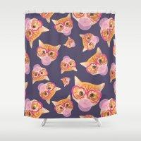 bubblegum Shower Curtains featuring Bubblegum Cat by Oh Monday